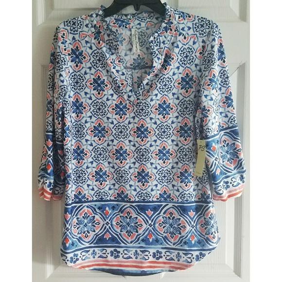 65dff7c117fe4 NWT patterned blue   orange blouse